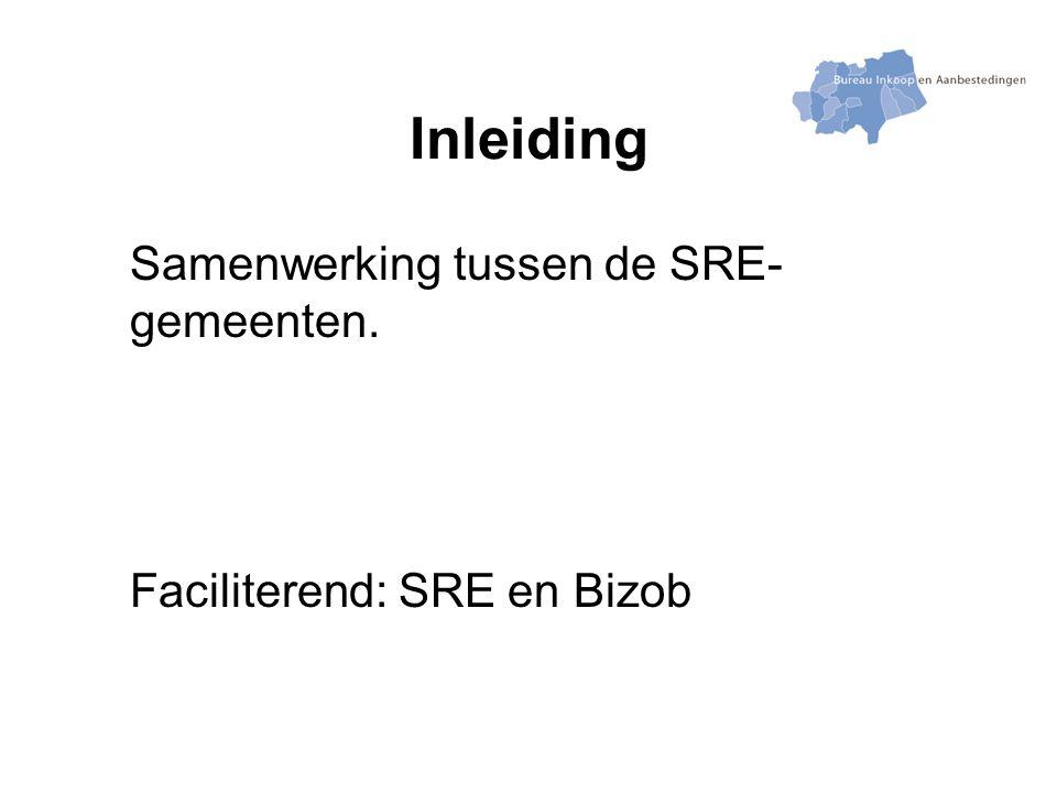 Inleiding Samenwerking tussen de SRE- gemeenten. Faciliterend: SRE en Bizob