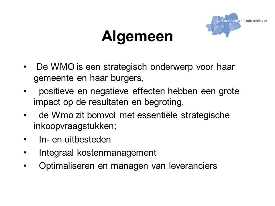 Algemeen De WMO is een strategisch onderwerp voor haar gemeente en haar burgers, positieve en negatieve effecten hebben een grote impact op de resultaten en begroting, de Wmo zit bomvol met essentiële strategische inkoopvraagstukken; In- en uitbesteden Integraal kostenmanagement Optimaliseren en managen van leveranciers