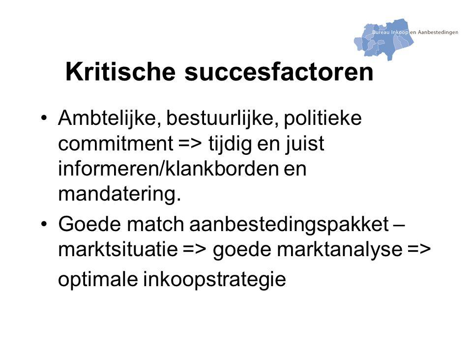 Kritische succesfactoren Ambtelijke, bestuurlijke, politieke commitment => tijdig en juist informeren/klankborden en mandatering.