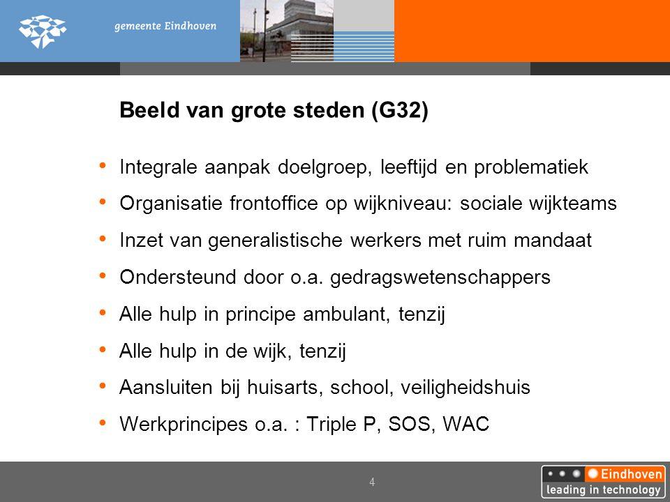 4 Beeld van grote steden (G32) Integrale aanpak doelgroep, leeftijd en problematiek Organisatie frontoffice op wijkniveau: sociale wijkteams Inzet van