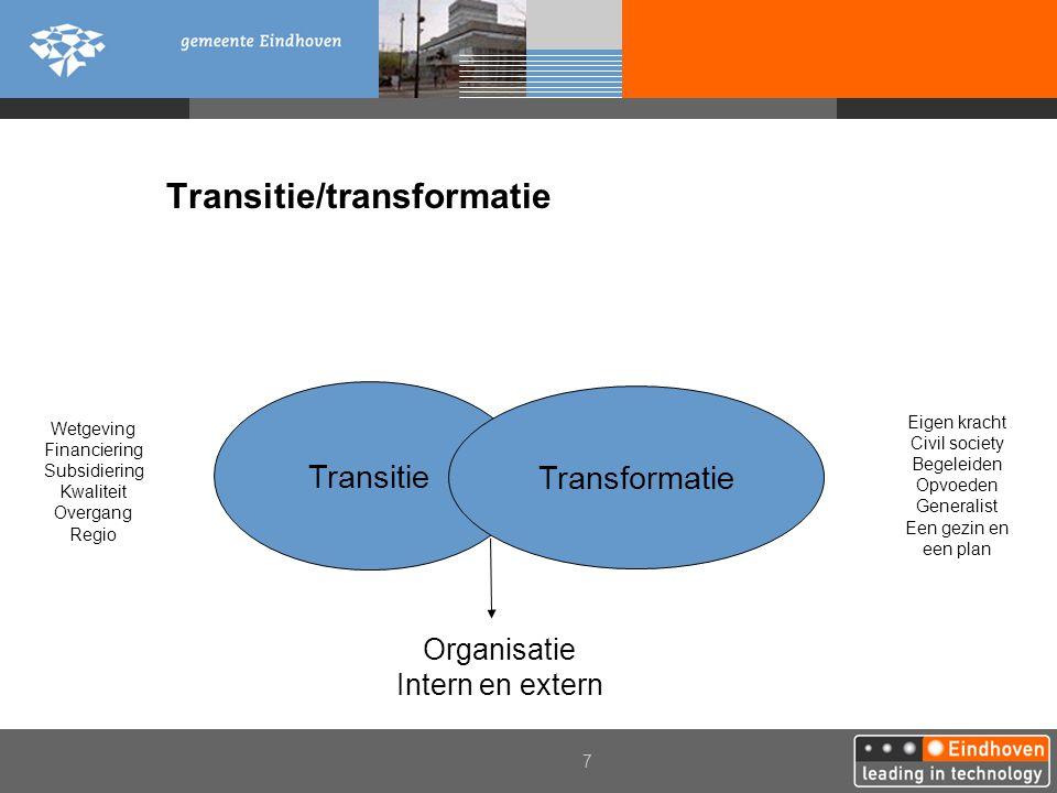 7 Transitie/transformatie Stelselherziening jeugdzorg Transitie Transformatie Eigen kracht Civil society Begeleiden Opvoeden Generalist Een gezin en e