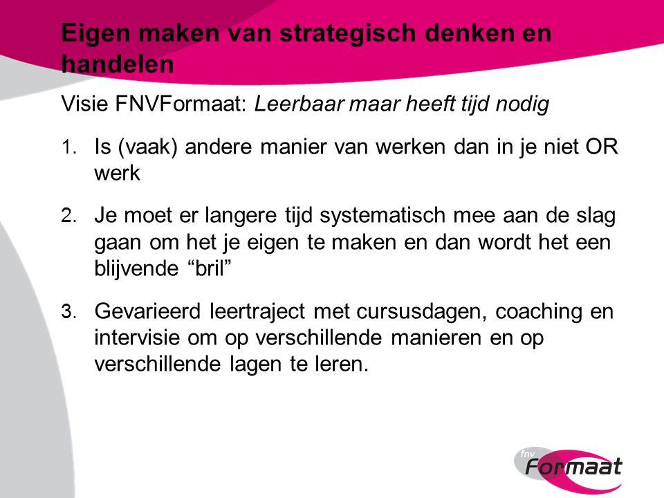 Eigen maken van strategisch denken en handelen Visie FNVFormaat: Leerbaar maar heeft tijd nodig 1.