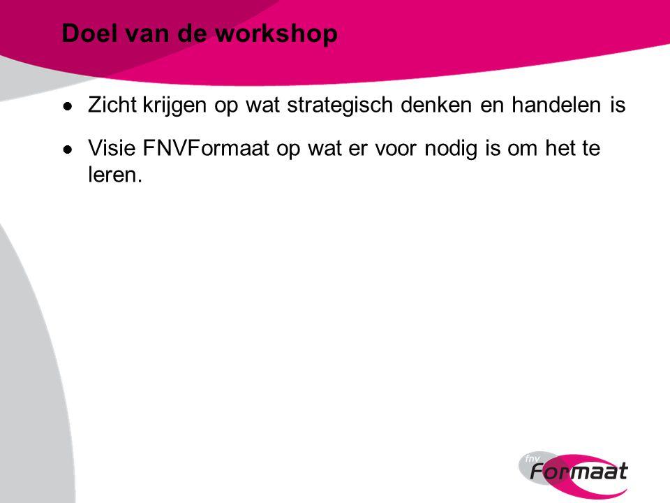 Doel van de workshop ● Zicht krijgen op wat strategisch denken en handelen is ● Visie FNVFormaat op wat er voor nodig is om het te leren.