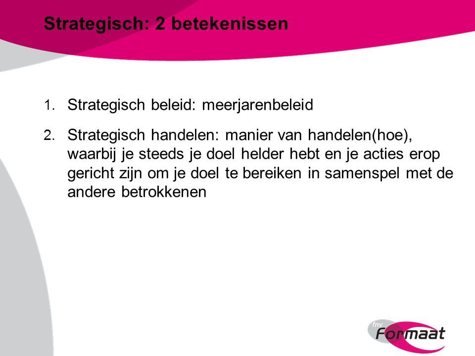 Strategisch: 2 betekenissen 1. Strategisch beleid: meerjarenbeleid 2.