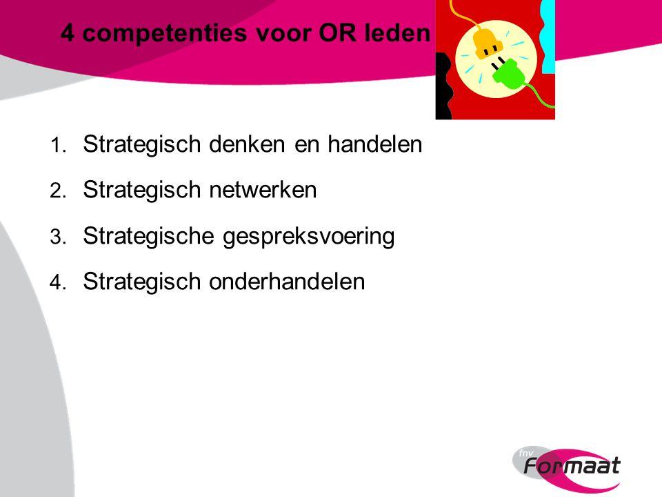 4 competenties voor OR leden 1. Strategisch denken en handelen 2.