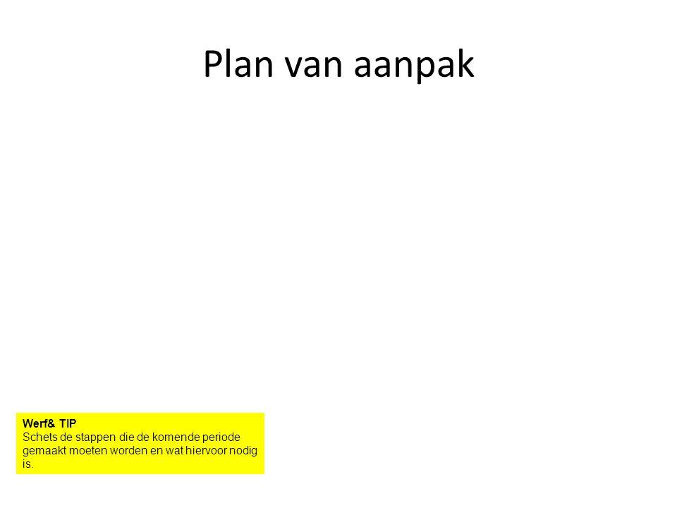 Plan van aanpak Werf& TIP Schets de stappen die de komende periode gemaakt moeten worden en wat hiervoor nodig is.