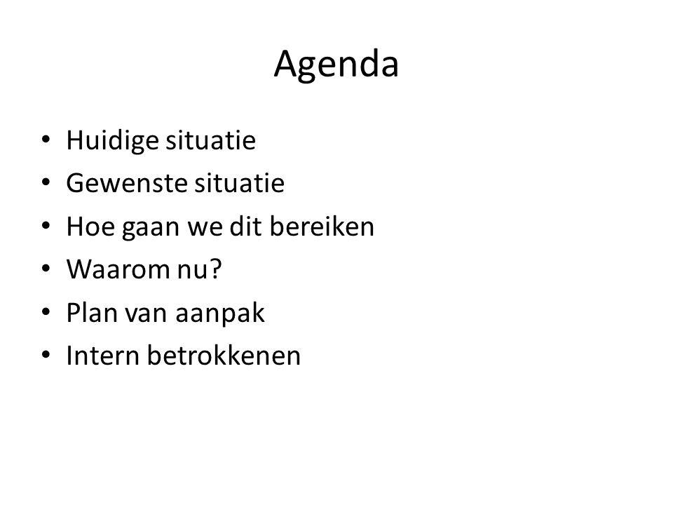 Agenda Huidige situatie Gewenste situatie Hoe gaan we dit bereiken Waarom nu.