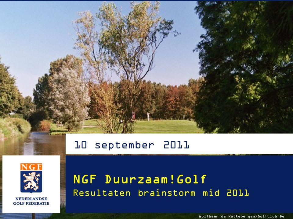NGF Duurzaam!Golf Resultaten brainstorm mid 2011 Ted van Keulen, Joris Slooten, Inge Boomsma, Alfred Touber, Monique Madsen, Marieke van Rhijn Versie 8 sept 2011 Van Lanschot Bankiers - Deloitte