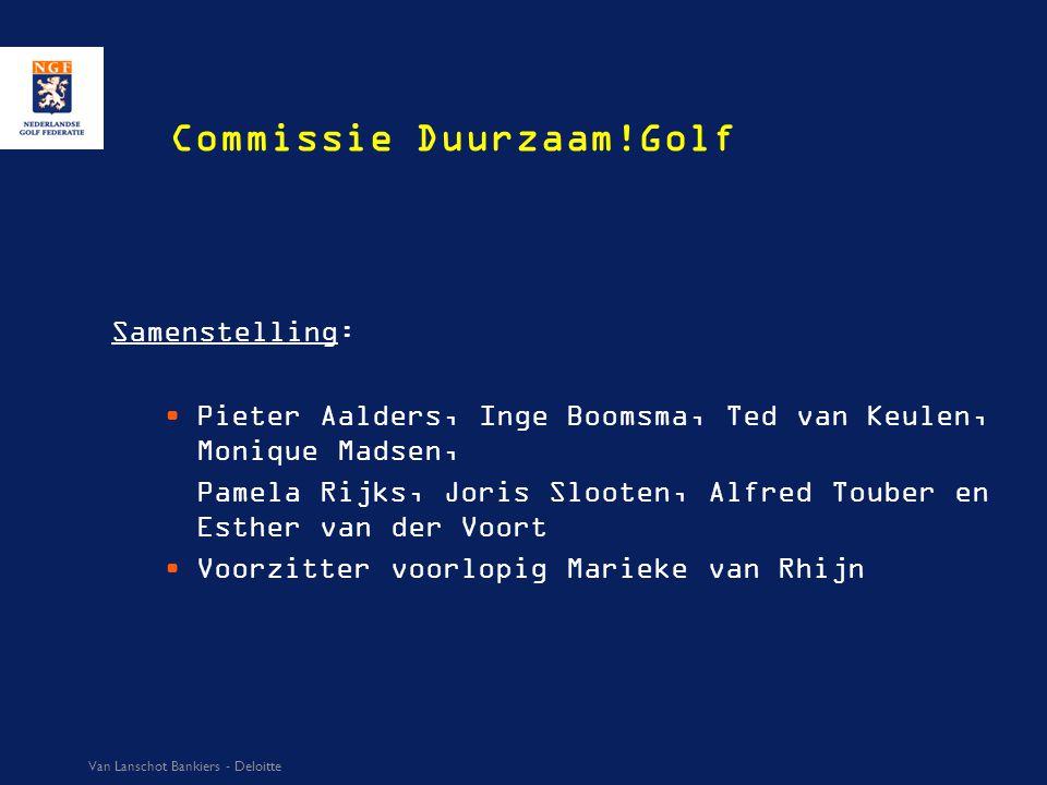 Commissie Duurzaam!Golf Samenstelling: Pieter Aalders, Inge Boomsma, Ted van Keulen, Monique Madsen, Pamela Rijks, Joris Slooten, Alfred Touber en Est
