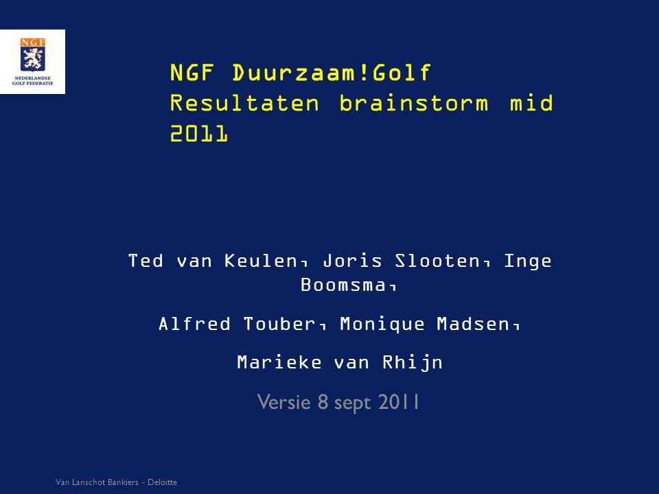 NGF Duurzaam!Golf Resultaten brainstorm mid 2011 Ted van Keulen, Joris Slooten, Inge Boomsma, Alfred Touber, Monique Madsen, Marieke van Rhijn Versie