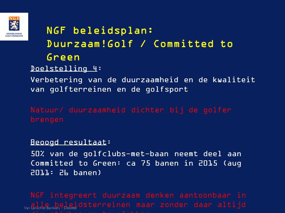 NGF beleidsplan: Duurzaam!Golf / Committed to Green Doelstelling 4: Verbetering van de duurzaamheid en de kwaliteit van golfterreinen en de golfsport