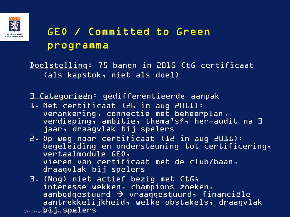 GEO / Committed to Green programma Doelstelling: 75 banen in 2015 CtG certificaat (als kapstok, niet als doel) 3 Categorieën: gedifferentieerde aanpak