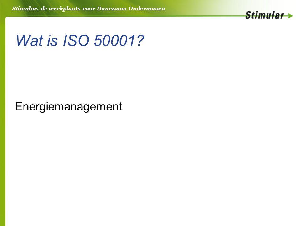 Stimular, de werkplaats voor Duurzaam Ondernemen Wat is ISO 50001 Energiemanagement