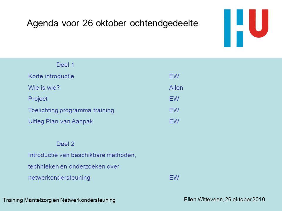Ellen Witteveen, 26 oktober 2010 Training Mantelzorg en Netwerkondersteuning Het project -Toekenning subsidieaanvraag -Sinterklaas (boeken, schilderijen) -OWP's -Onderzoekers en facilitatoren -Functie van stuurgroep -Externe deskundigen