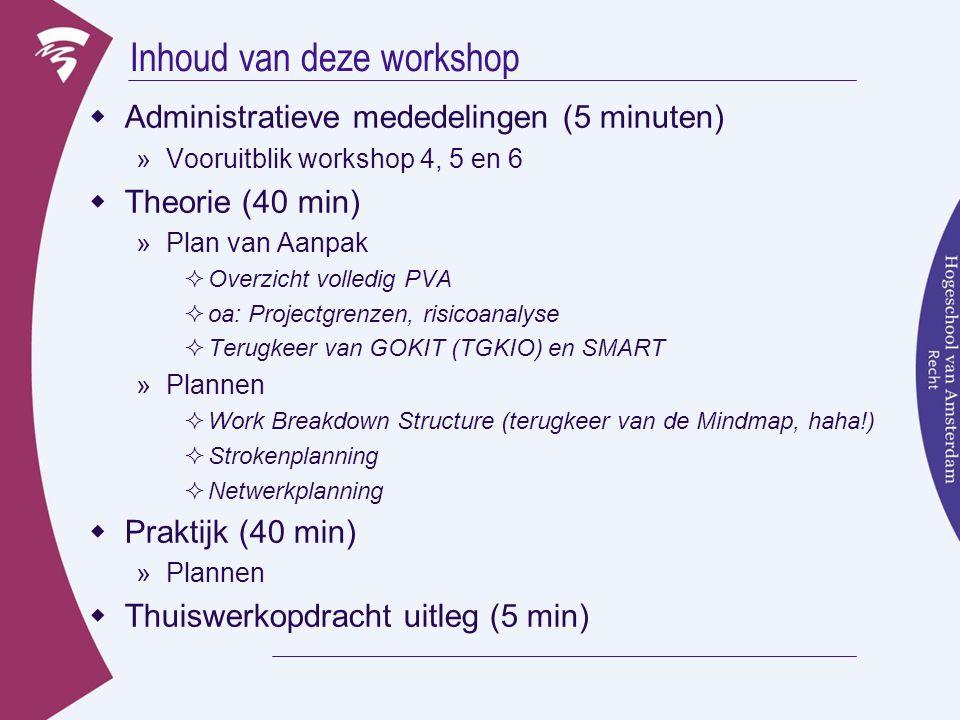 Inhoud van deze workshop  Administratieve mededelingen (5 minuten) »Vooruitblik workshop 4, 5 en 6  Theorie (40 min) »Plan van Aanpak  Overzicht volledig PVA  oa: Projectgrenzen, risicoanalyse  Terugkeer van GOKIT (TGKIO) en SMART »Plannen  Work Breakdown Structure (terugkeer van de Mindmap, haha!)  Strokenplanning  Netwerkplanning  Praktijk (40 min) »Plannen  Thuiswerkopdracht uitleg (5 min)