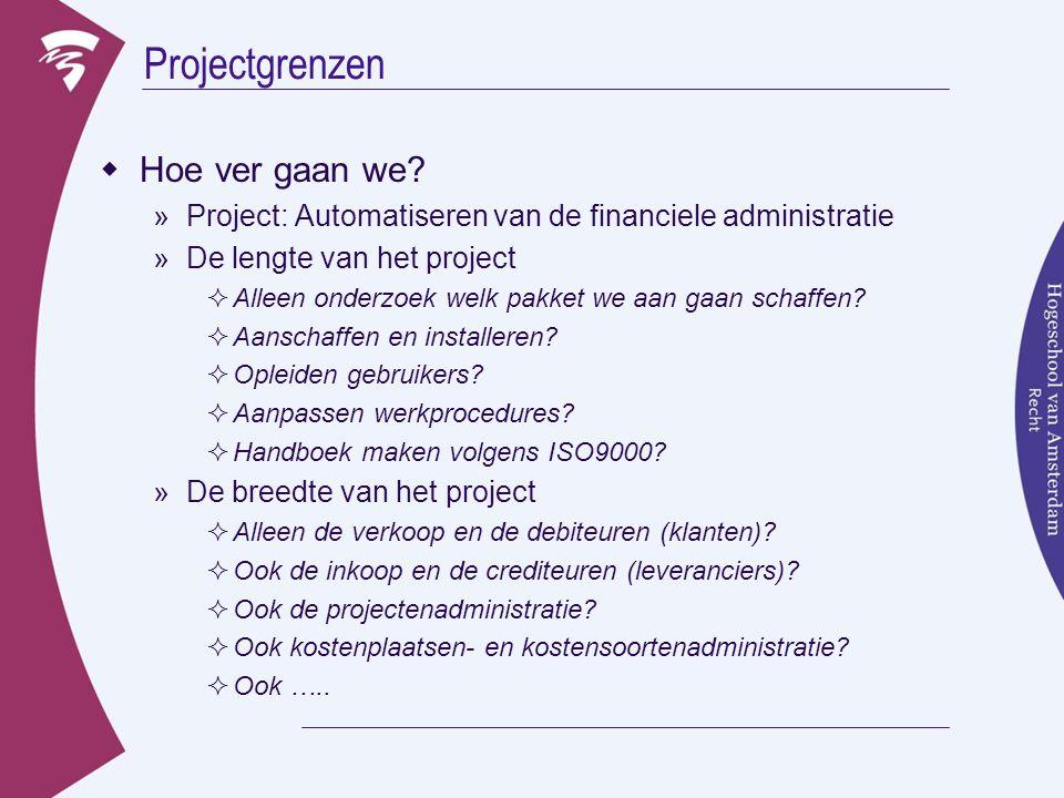 Projectgrenzen  Hoe ver gaan we? »Project: Automatiseren van de financiele administratie »De lengte van het project  Alleen onderzoek welk pakket we