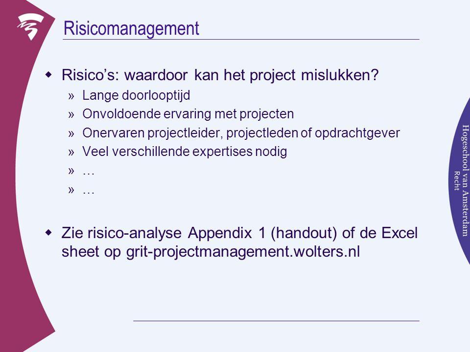 Risicomanagement  Risico's: waardoor kan het project mislukken? »Lange doorlooptijd »Onvoldoende ervaring met projecten »Onervaren projectleider, pro