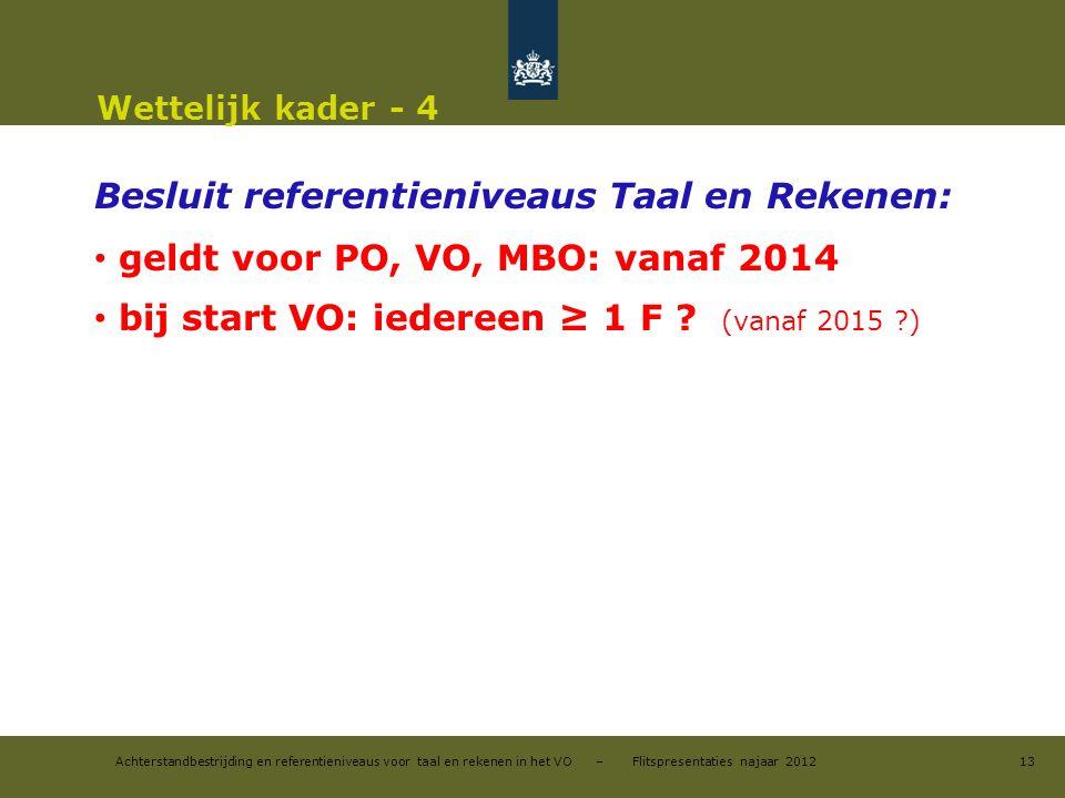 Achterstandbestrijding en referentieniveaus voor taal en rekenen in het VO – Flitspresentaties najaar 2012 Wettelijk kader - 4 Besluit referentienivea