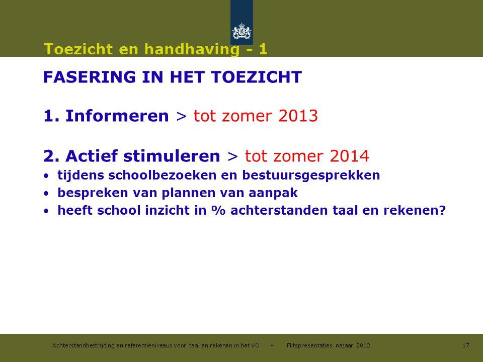 Achterstandbestrijding en referentieniveaus voor taal en rekenen in het VO – Flitspresentaties najaar 2012 Toezicht en handhaving - 1 FASERING IN HET TOEZICHT 1.