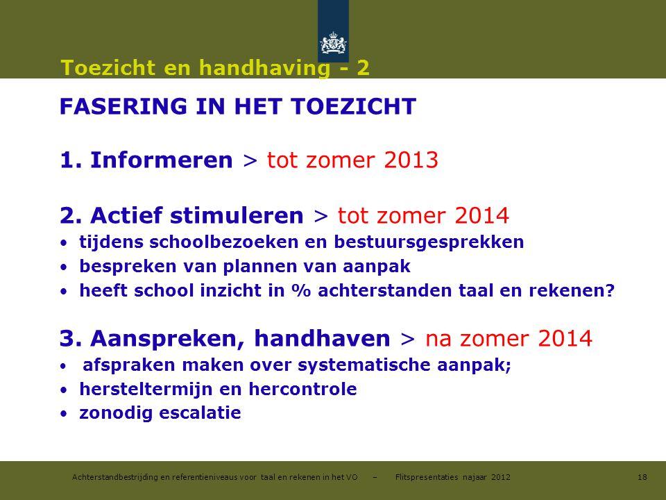 Achterstandbestrijding en referentieniveaus voor taal en rekenen in het VO – Flitspresentaties najaar 2012 Toezicht en handhaving - 2 FASERING IN HET TOEZICHT 1.