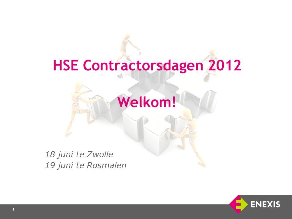 1 1 HSE Contractorsdagen 2012 Welkom! 18 juni te Zwolle 19 juni te Rosmalen 1