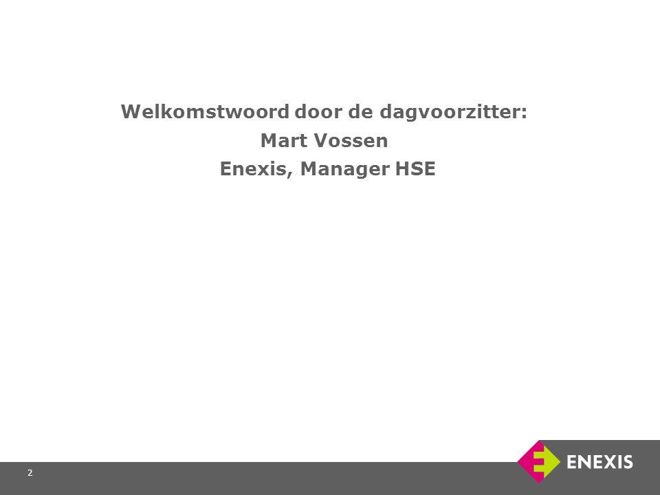 2 Welkomstwoord door de dagvoorzitter: Mart Vossen Enexis, Manager HSE