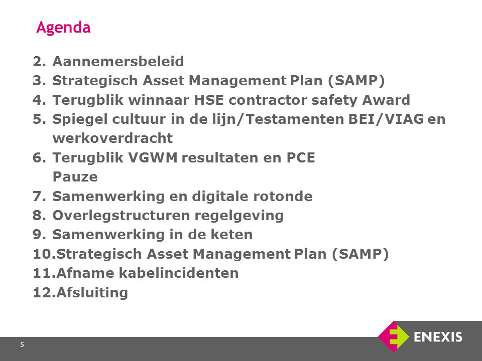 5 Agenda 2.Aannemersbeleid 3.Strategisch Asset Management Plan (SAMP) 4.Terugblik winnaar HSE contractor safety Award 5.Spiegel cultuur in de lijn/Tes