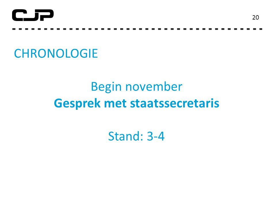 CHRONOLOGIE Begin november Gesprek met staatssecretaris Stand: 3-4 20