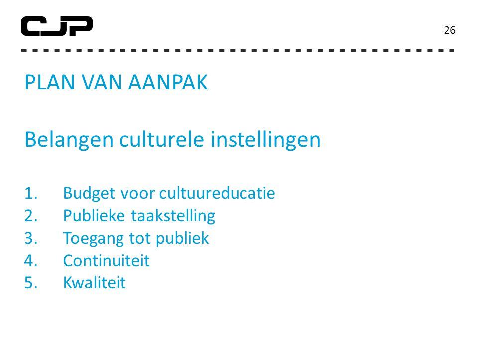 PLAN VAN AANPAK Belangen culturele instellingen 1.Budget voor cultuureducatie 2.Publieke taakstelling 3.Toegang tot publiek 4.Continuiteit 5.Kwaliteit 26
