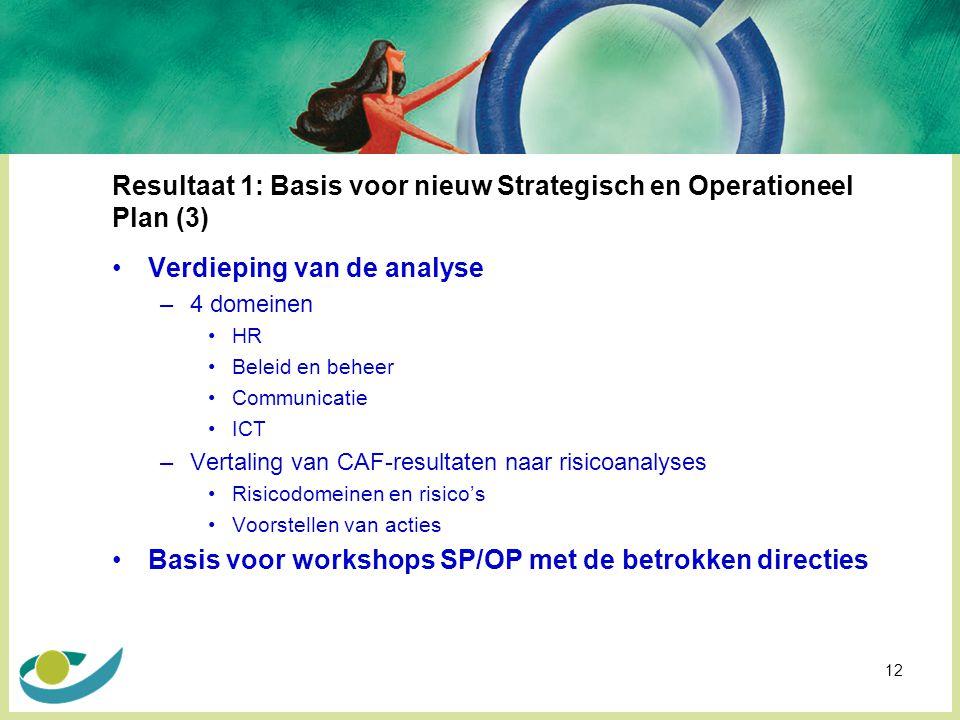 12 Resultaat 1: Basis voor nieuw Strategisch en Operationeel Plan (3) Verdieping van de analyse –4 domeinen HR Beleid en beheer Communicatie ICT –Vertaling van CAF-resultaten naar risicoanalyses Risicodomeinen en risico's Voorstellen van acties Basis voor workshops SP/OP met de betrokken directies