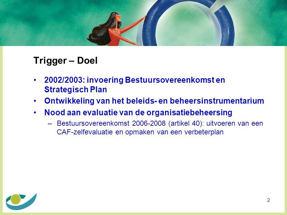 2 Trigger – Doel 2002/2003: invoering Bestuursovereenkomst en Strategisch Plan Ontwikkeling van het beleids- en beheersinstrumentarium Nood aan evaluatie van de organisatiebeheersing –Bestuursovereenkomst 2006-2008 (artikel 40): uitvoeren van een CAF-zelfevaluatie en opmaken van een verbeterplan