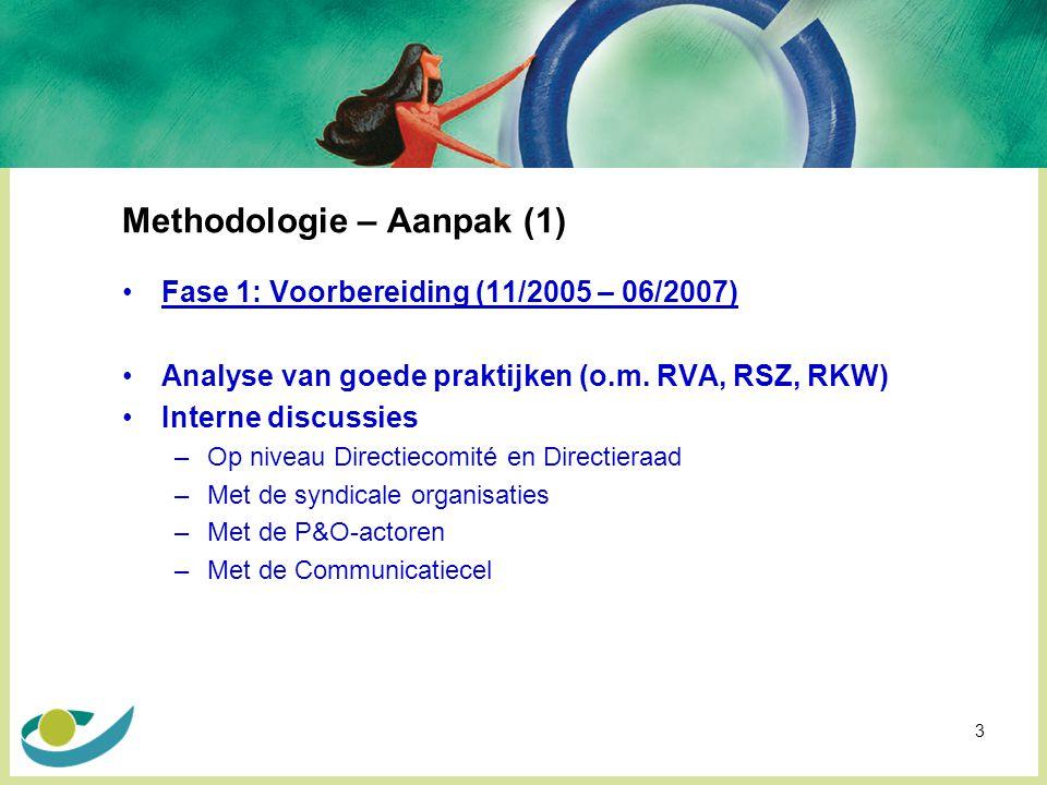 3 Methodologie – Aanpak (1) Fase 1: Voorbereiding (11/2005 – 06/2007) Analyse van goede praktijken (o.m.