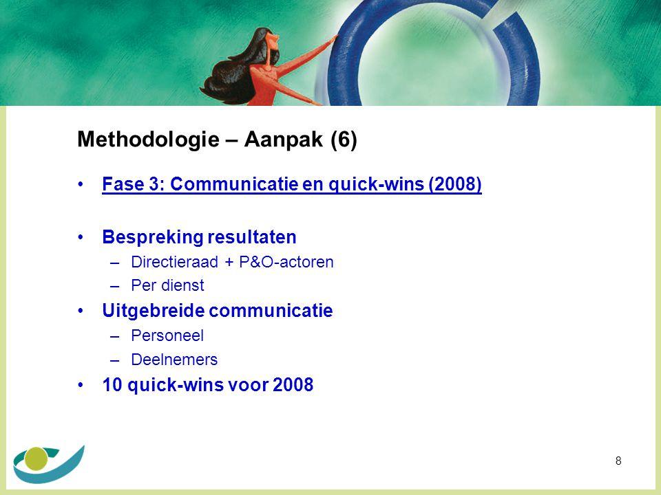 8 Methodologie – Aanpak (6) Fase 3: Communicatie en quick-wins (2008) Bespreking resultaten –Directieraad + P&O-actoren –Per dienst Uitgebreide communicatie –Personeel –Deelnemers 10 quick-wins voor 2008