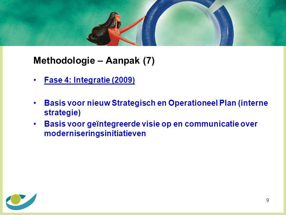 9 Methodologie – Aanpak (7) Fase 4: Integratie (2009) Basis voor nieuw Strategisch en Operationeel Plan (interne strategie) Basis voor geïntegreerde visie op en communicatie over moderniseringsinitiatieven