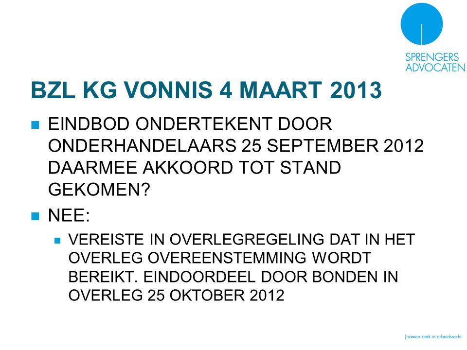 BZL KG VONNIS 4 MAART 2013 EINDBOD ONDERTEKENT DOOR ONDERHANDELAARS 25 SEPTEMBER 2012 DAARMEE AKKOORD TOT STAND GEKOMEN? NEE: VEREISTE IN OVERLEGREGEL