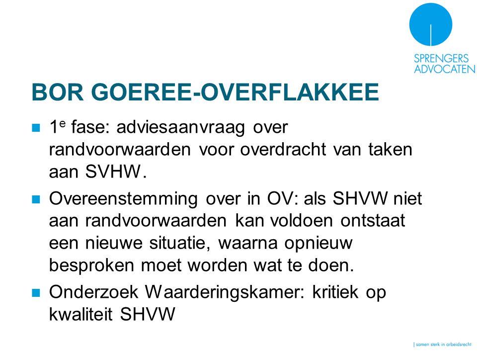 BOR GOEREE-OVERFLAKKEE 1 e fase: adviesaanvraag over randvoorwaarden voor overdracht van taken aan SVHW. Overeenstemming over in OV: als SHVW niet aan