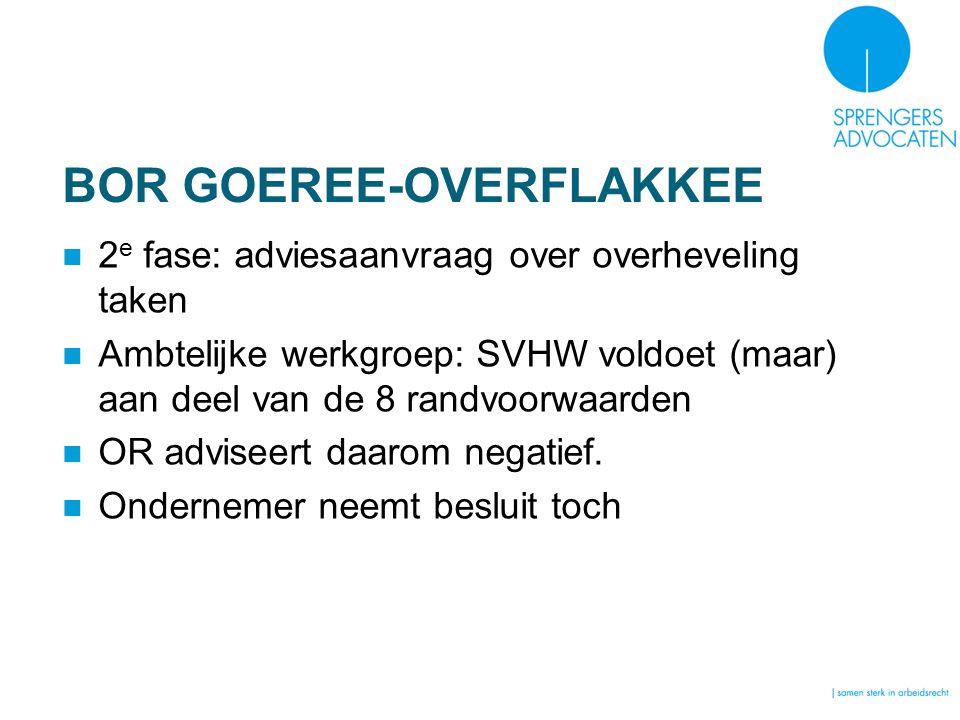 BOR GOEREE-OVERFLAKKEE 2 e fase: adviesaanvraag over overheveling taken Ambtelijke werkgroep: SVHW voldoet (maar) aan deel van de 8 randvoorwaarden OR adviseert daarom negatief.