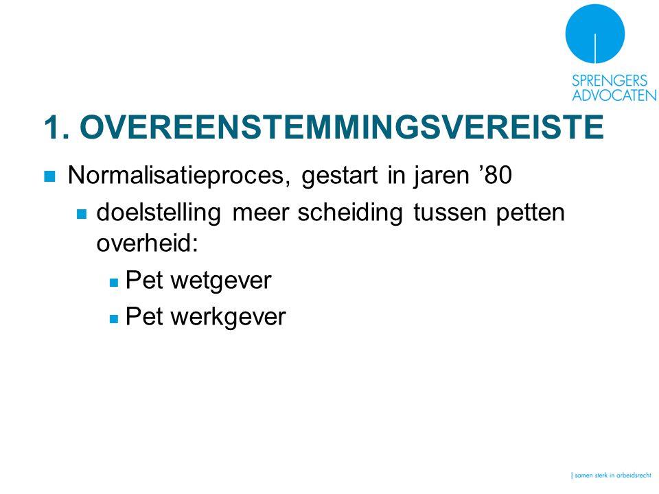 1. OVEREENSTEMMINGSVEREISTE Normalisatieproces, gestart in jaren '80 doelstelling meer scheiding tussen petten overheid: Pet wetgever Pet werkgever