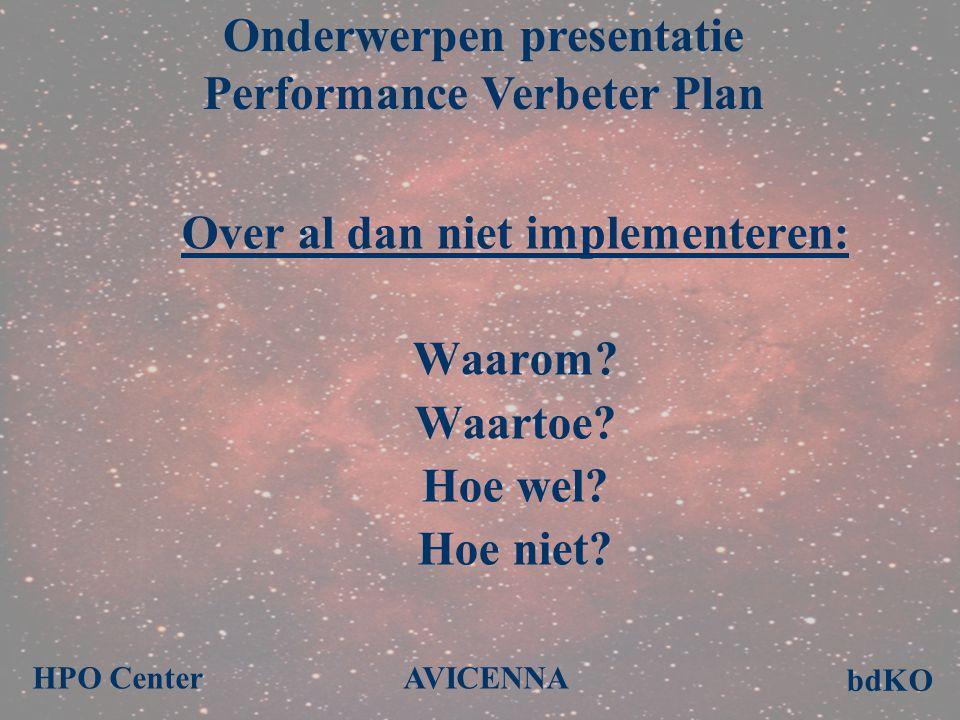 Over al dan niet implementeren: Waarom? Waartoe? Hoe wel? Hoe niet? Onderwerpen presentatie Performance Verbeter Plan bdKO HPO Center AVICENNA