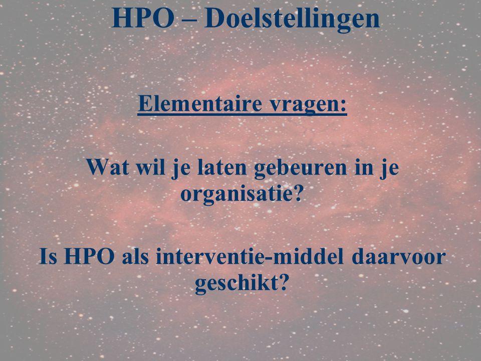 Elementaire vragen: Wat wil je laten gebeuren in je organisatie? Is HPO als interventie-middel daarvoor geschikt? HPO – Doelstellingen