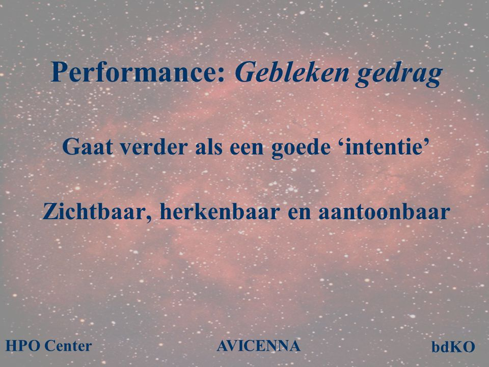 Fases invoering GO / NO GO HPO Introductie in organisatie HPO Scan & Analyse Performance Verbeter Plan GO / NO GO PVP Implementatie Performance Verbeter Plan