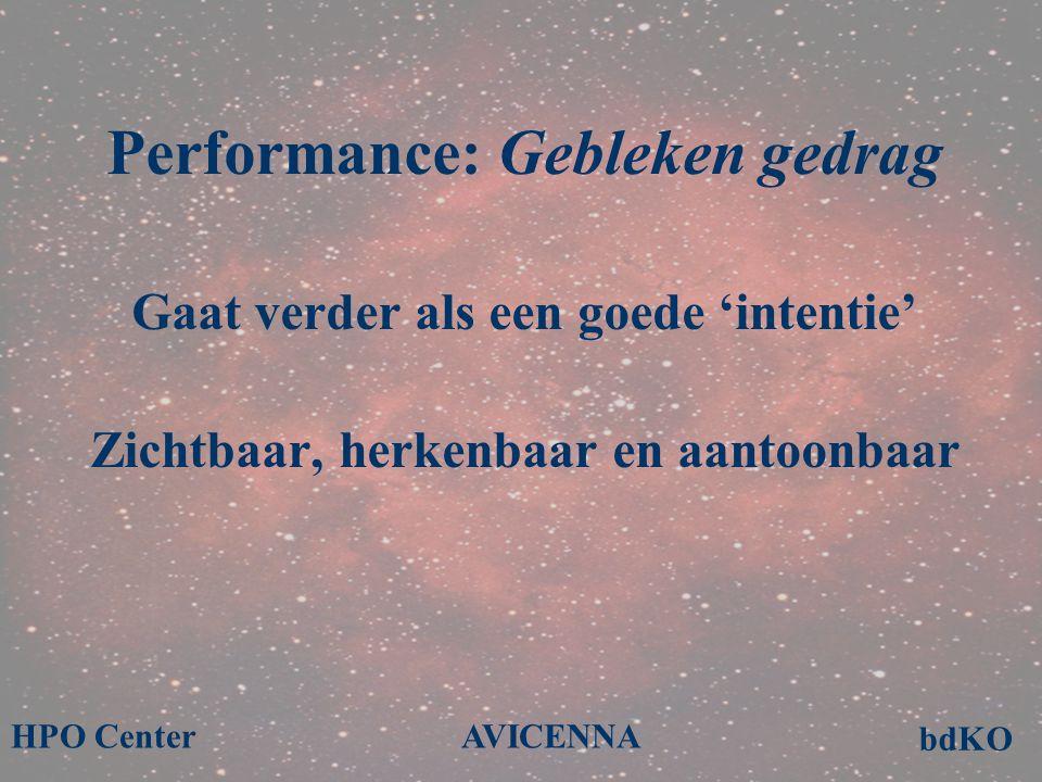 Performance: Gebleken gedrag Gaat verder als een goede 'intentie' Zichtbaar, herkenbaar en aantoonbaar bdKO AVICENNAHPO Center