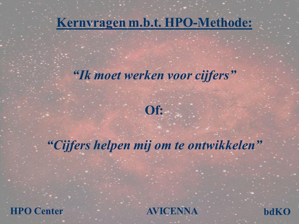 """Kernvragen m.b.t. HPO-Methode: """"Ik moet werken voor cijfers"""" Of: """"Cijfers helpen mij om te ontwikkelen"""" bdKO AVICENNAHPO Center"""