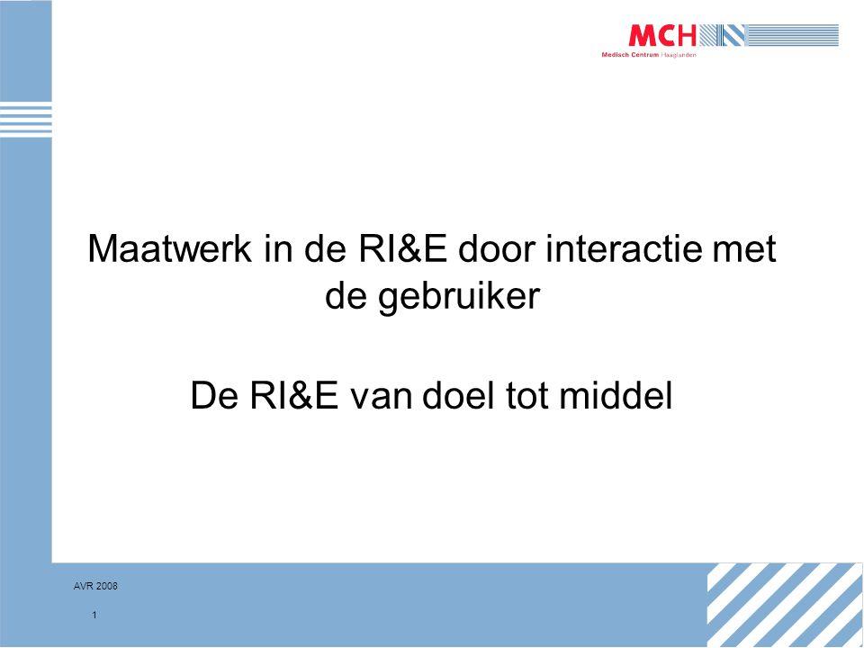 AVR 2008 22 De nieuwe RI&E Proces RI&E, Plan van Aanpak Instructie naar uitvoerder: Bespreek Plan van Aanpak in werkoverleg met als doelen: –Verkrijgen van input van medewerkers over mogelijke oplossingen –Bekend maken van resultaten van de RI&E