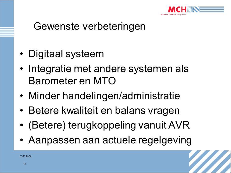 AVR 2008 10 Gewenste verbeteringen Digitaal systeem Integratie met andere systemen als Barometer en MTO Minder handelingen/administratie Betere kwalit