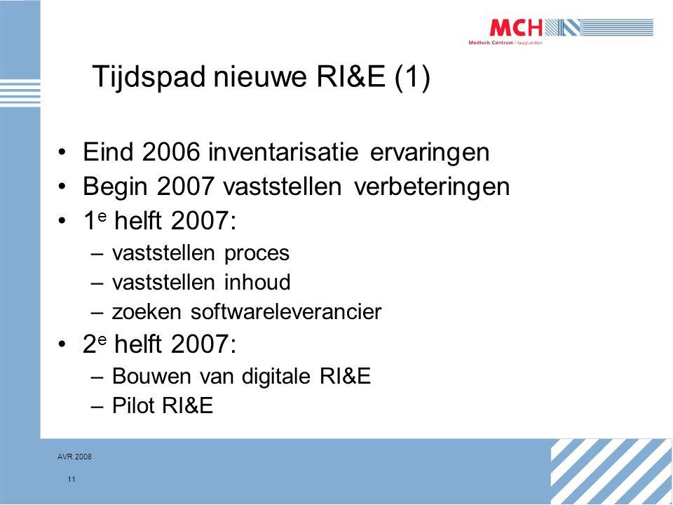 AVR 2008 11 Tijdspad nieuwe RI&E (1) Eind 2006 inventarisatie ervaringen Begin 2007 vaststellen verbeteringen 1 e helft 2007: –vaststellen proces –vas