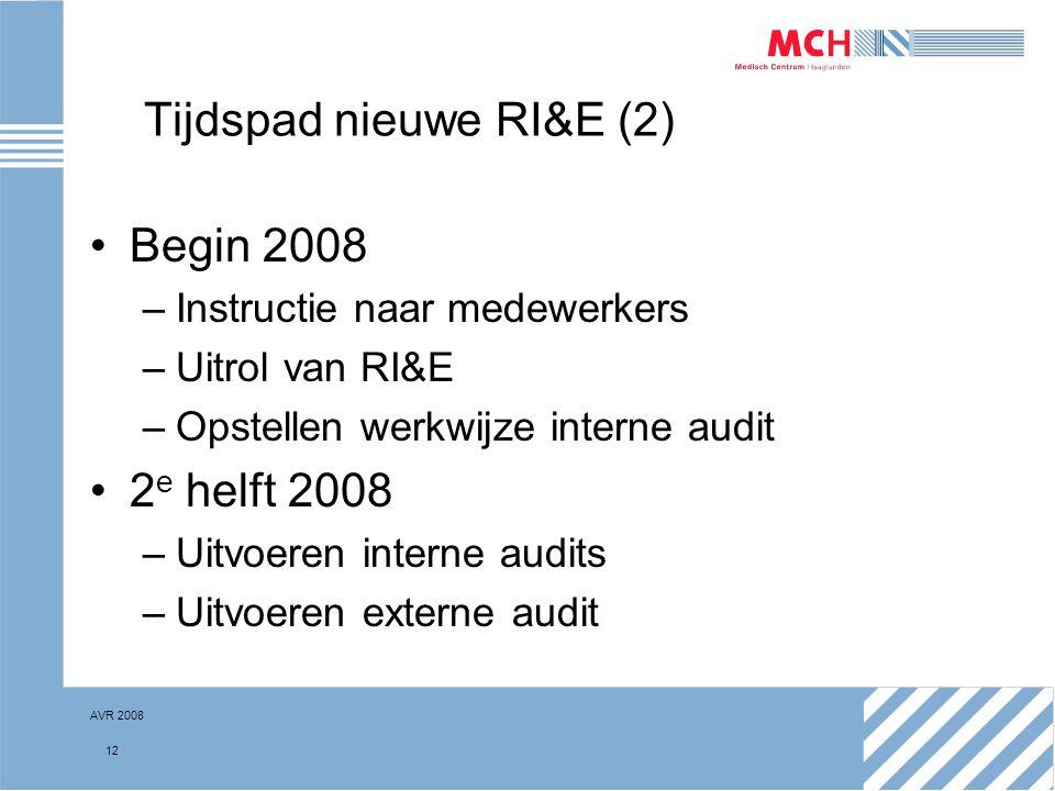 AVR 2008 12 Tijdspad nieuwe RI&E (2) Begin 2008 –Instructie naar medewerkers –Uitrol van RI&E –Opstellen werkwijze interne audit 2 e helft 2008 –Uitvo