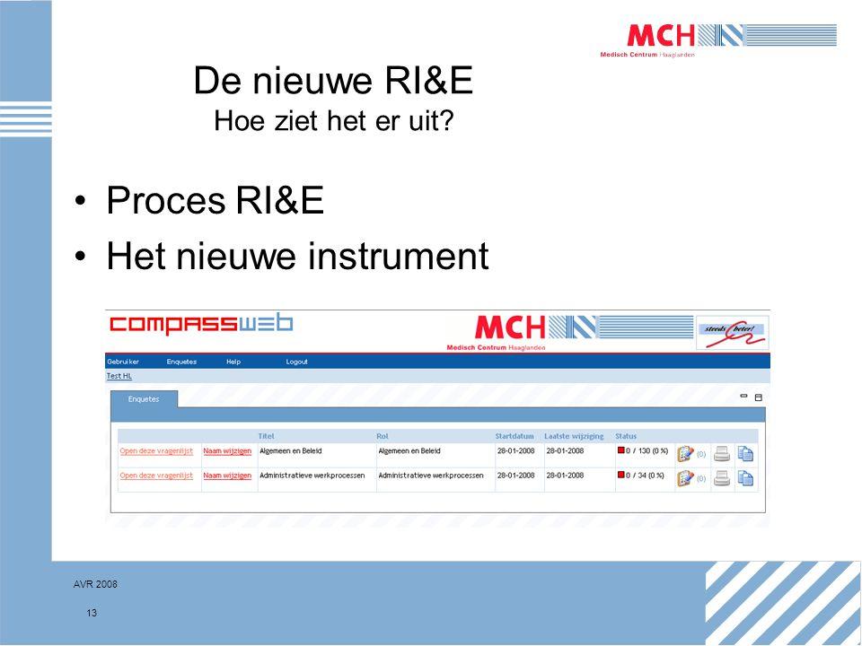 AVR 2008 13 De nieuwe RI&E Hoe ziet het er uit? Proces RI&E Het nieuwe instrument
