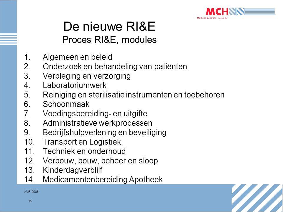 AVR 2008 15 De nieuwe RI&E Proces RI&E, modules 1.Algemeen en beleid 2.Onderzoek en behandeling van patiënten 3.Verpleging en verzorging 4.Laboratoriu
