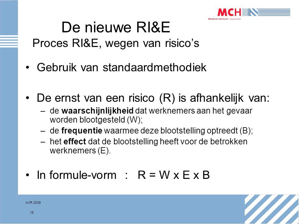 AVR 2008 18 De nieuwe RI&E Proces RI&E, wegen van risico's Gebruik van standaardmethodiek De ernst van een risico (R) is afhankelijk van: –de waarschi